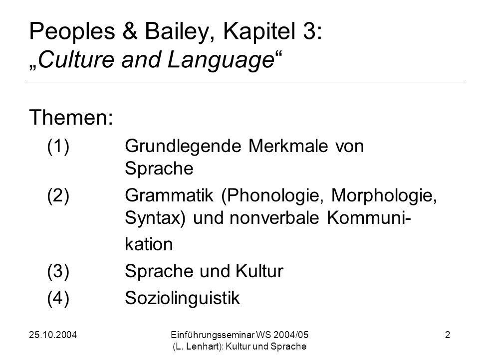 25.10.2004Einführungsseminar WS 2004/05 (L. Lenhart): Kultur und Sprache 2 Peoples & Bailey, Kapitel 3:Culture and Language Themen: (1)Grundlegende Me