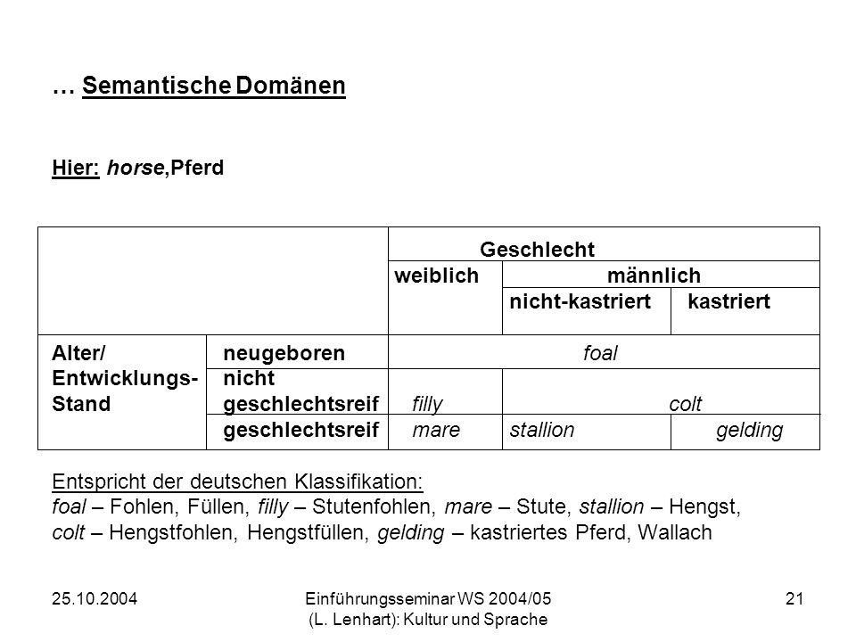 25.10.2004Einführungsseminar WS 2004/05 (L. Lenhart): Kultur und Sprache 21 … Semantische Domänen Hier: horse,Pferd Geschlecht weiblich männlich nicht