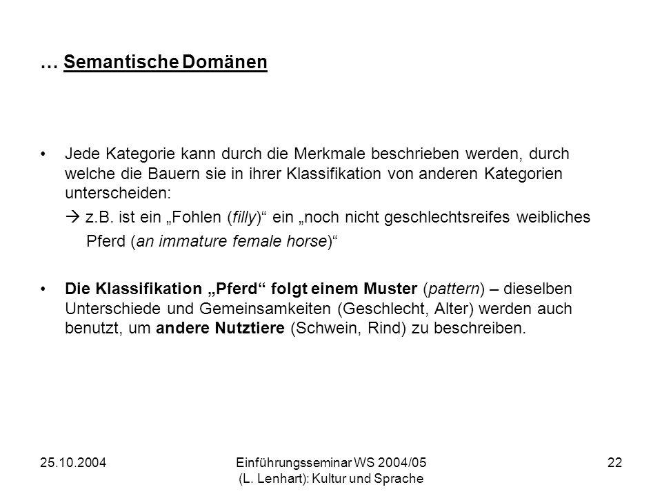 25.10.2004Einführungsseminar WS 2004/05 (L. Lenhart): Kultur und Sprache 22 … Semantische Domänen Jede Kategorie kann durch die Merkmale beschrieben w