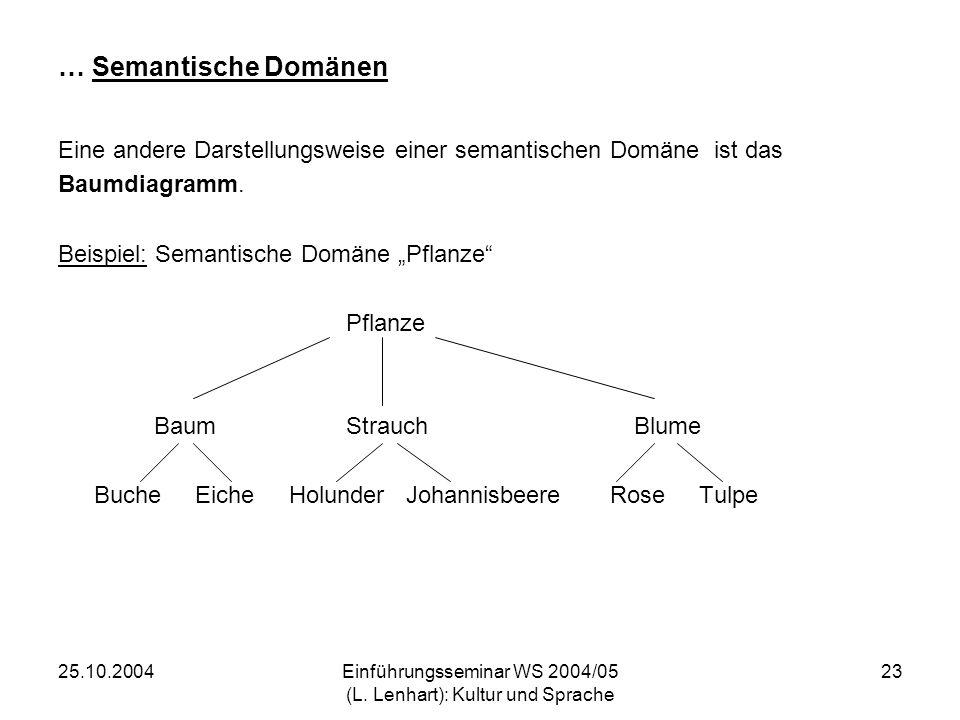 25.10.2004Einführungsseminar WS 2004/05 (L. Lenhart): Kultur und Sprache 23 … Semantische Domänen Eine andere Darstellungsweise einer semantischen Dom