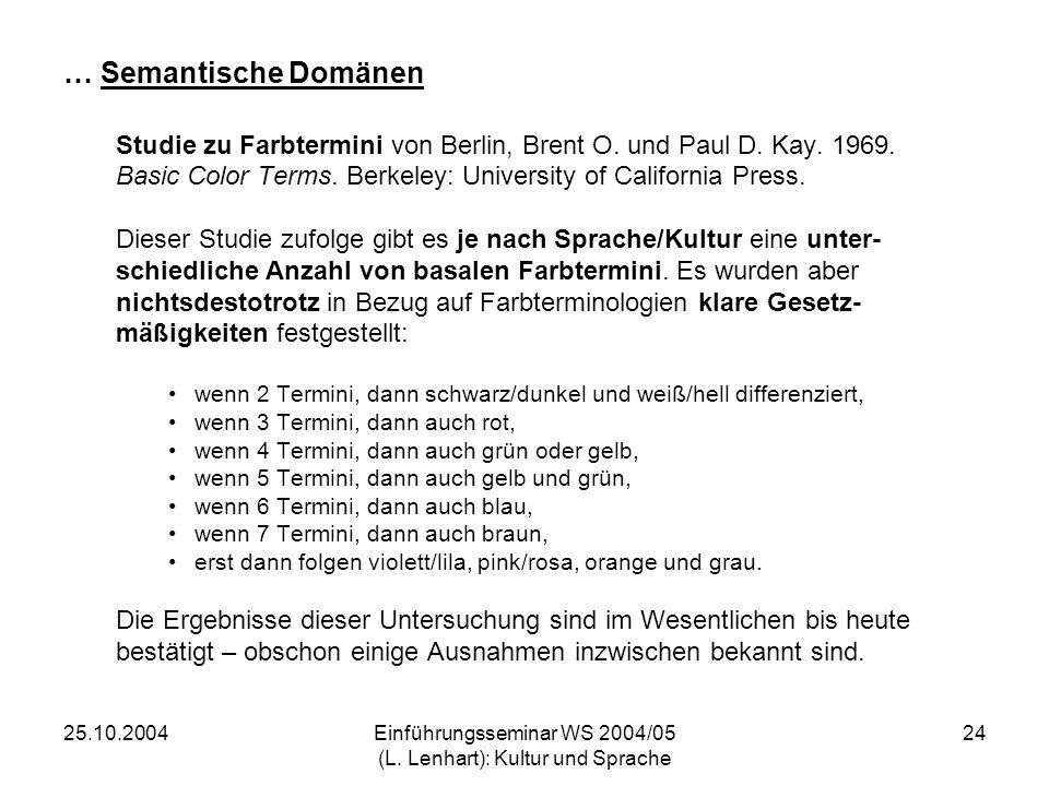 25.10.2004Einführungsseminar WS 2004/05 (L. Lenhart): Kultur und Sprache 24 … Semantische Domänen Studie zu Farbtermini von Berlin, Brent O. und Paul