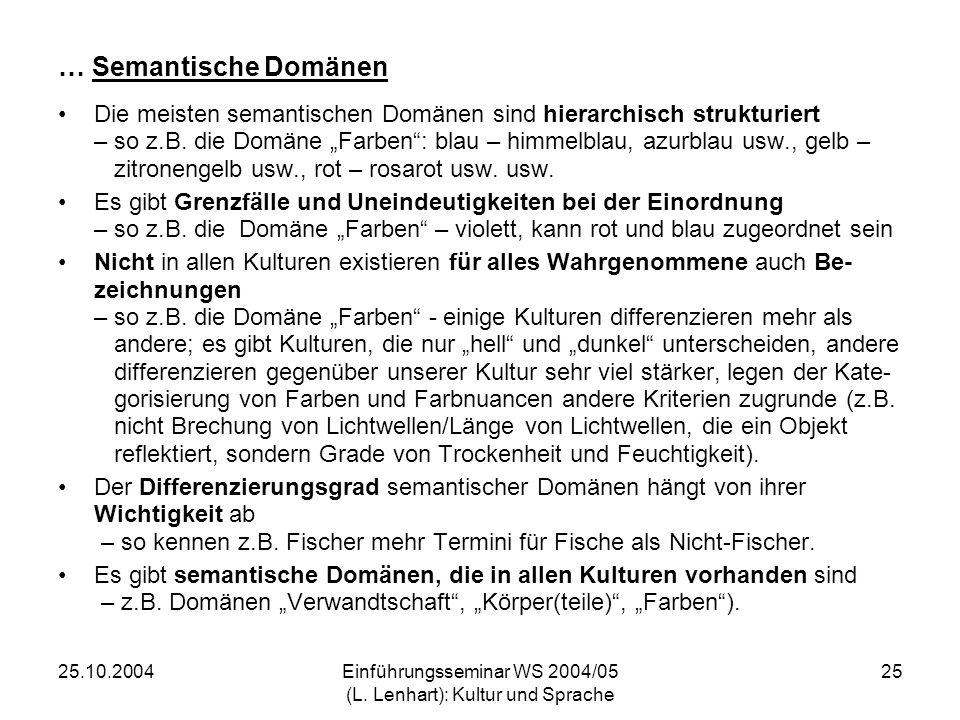 25.10.2004Einführungsseminar WS 2004/05 (L. Lenhart): Kultur und Sprache 25 … Semantische Domänen Die meisten semantischen Domänen sind hierarchisch s