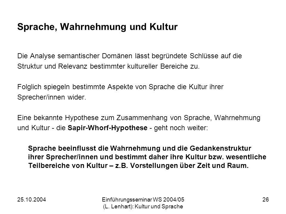 25.10.2004Einführungsseminar WS 2004/05 (L. Lenhart): Kultur und Sprache 26 Sprache, Wahrnehmung und Kultur Die Analyse semantischer Domänen lässt beg
