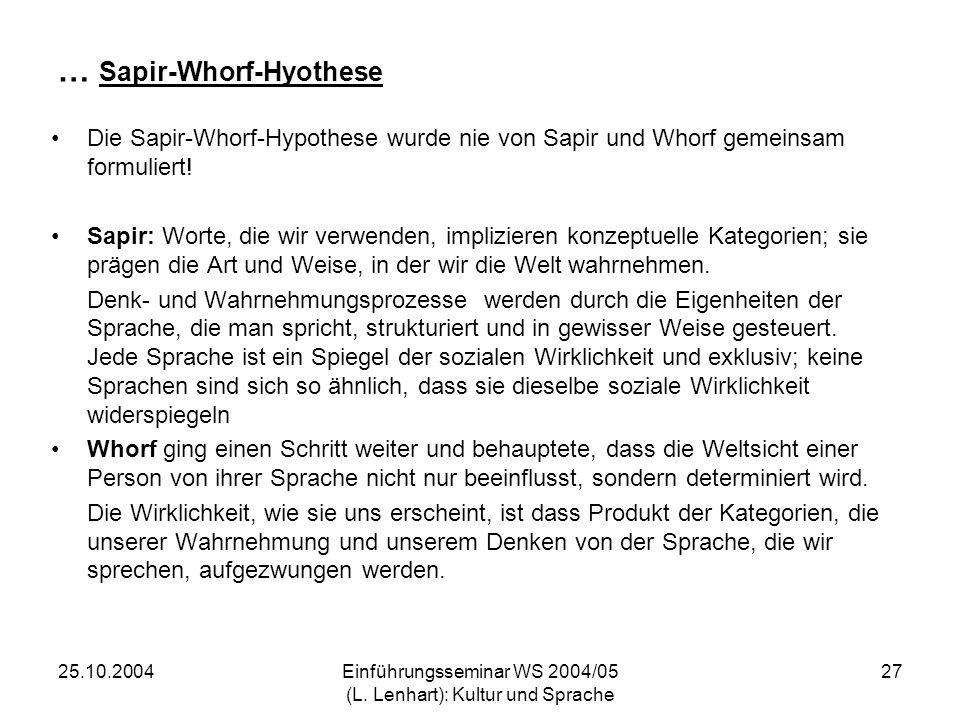 25.10.2004Einführungsseminar WS 2004/05 (L. Lenhart): Kultur und Sprache 27 … Sapir-Whorf-Hyothese Die Sapir-Whorf-Hypothese wurde nie von Sapir und W