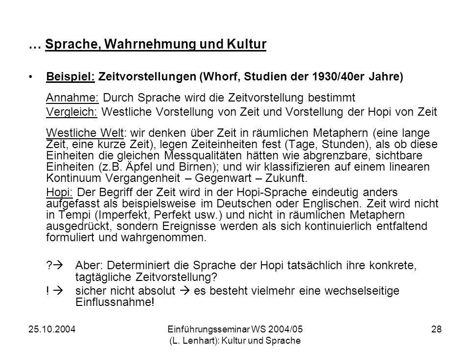 25.10.2004Einführungsseminar WS 2004/05 (L. Lenhart): Kultur und Sprache 28 … Sprache, Wahrnehmung und Kultur Beispiel: Zeitvorstellungen (Whorf, Stud