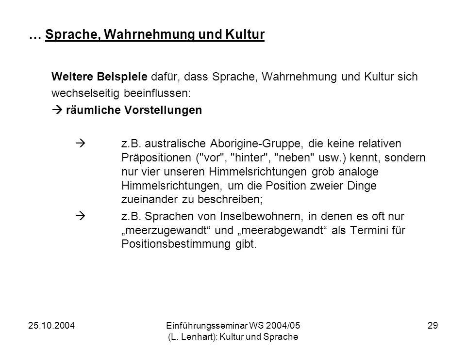 25.10.2004Einführungsseminar WS 2004/05 (L. Lenhart): Kultur und Sprache 29 … Sprache, Wahrnehmung und Kultur Weitere Beispiele dafür, dass Sprache, W