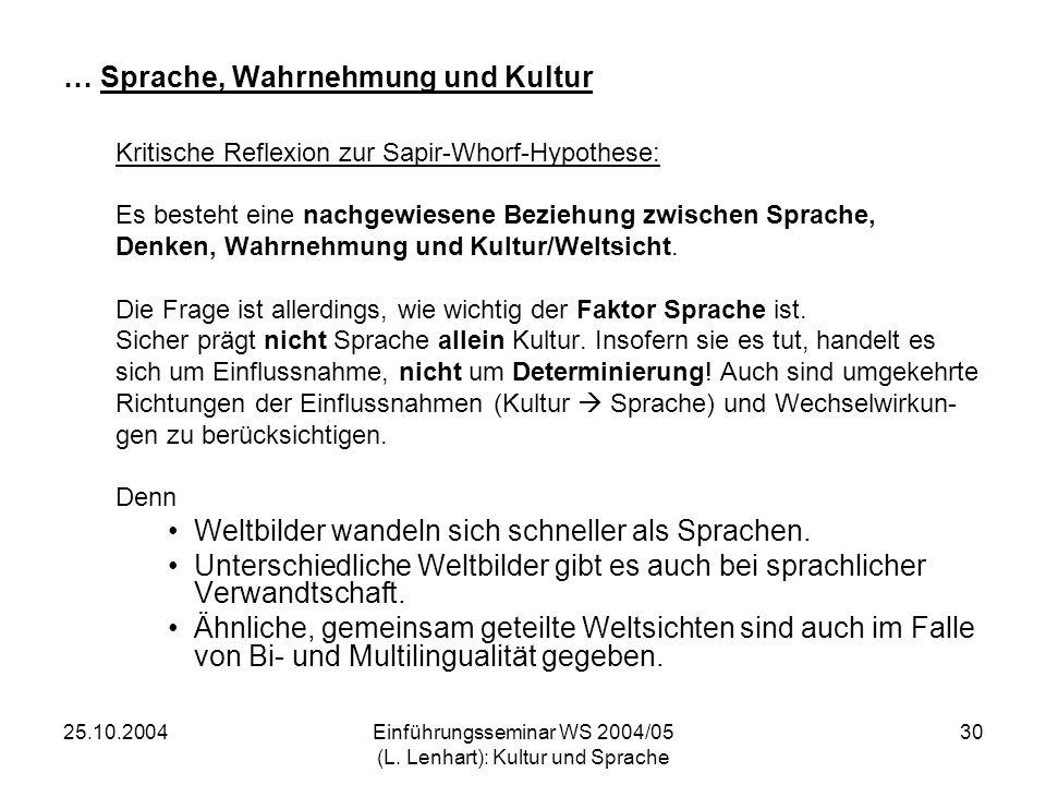 25.10.2004Einführungsseminar WS 2004/05 (L. Lenhart): Kultur und Sprache 30 … Sprache, Wahrnehmung und Kultur Kritische Reflexion zur Sapir-Whorf-Hypo