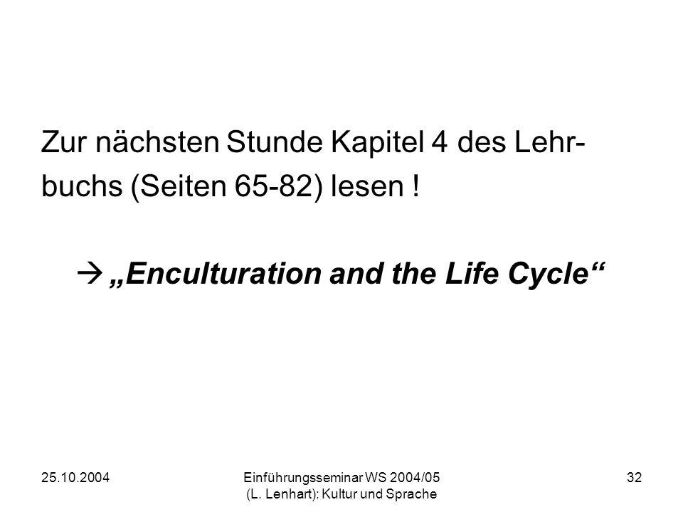 25.10.2004Einführungsseminar WS 2004/05 (L. Lenhart): Kultur und Sprache 32 Zur nächsten Stunde Kapitel 4 des Lehr- buchs (Seiten 65-82) lesen ! Encul