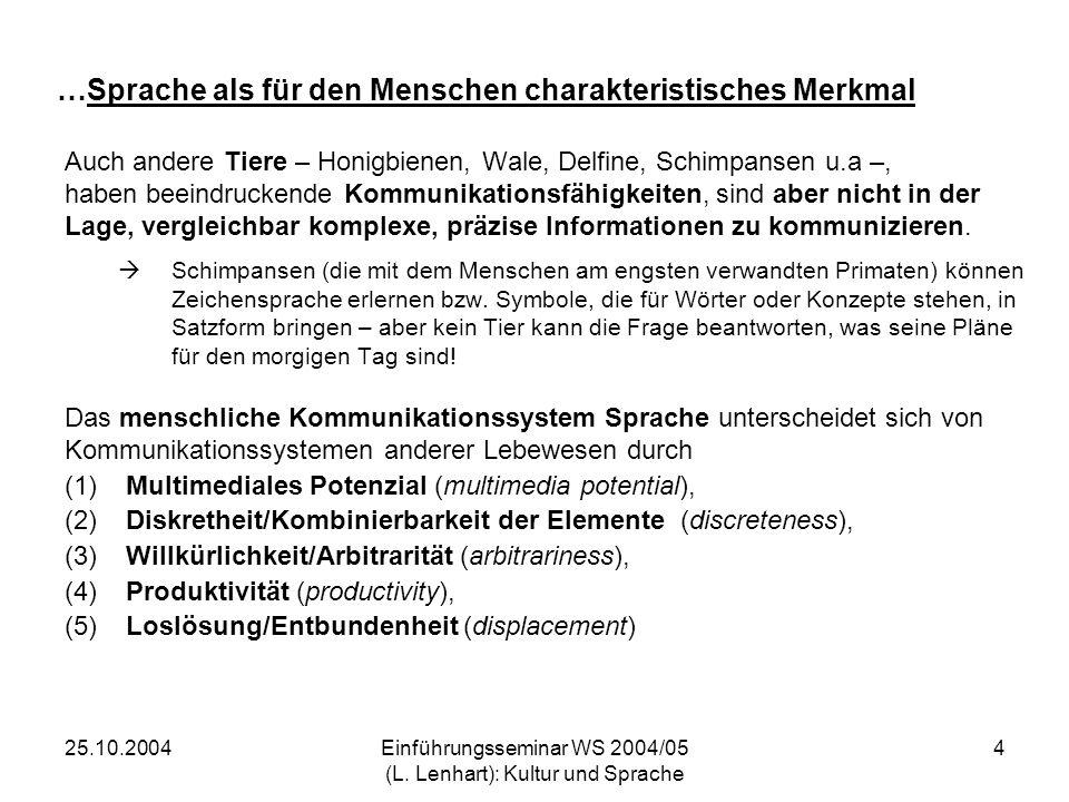 25.10.2004Einführungsseminar WS 2004/05 (L. Lenhart): Kultur und Sprache 4 …Sprache als für den Menschen charakteristisches Merkmal Auch andere Tiere