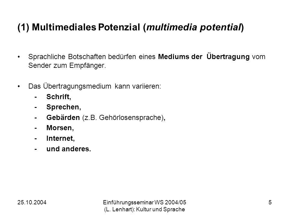 25.10.2004Einführungsseminar WS 2004/05 (L. Lenhart): Kultur und Sprache 5 (1) Multimediales Potenzial (multimedia potential) Sprachliche Botschaften