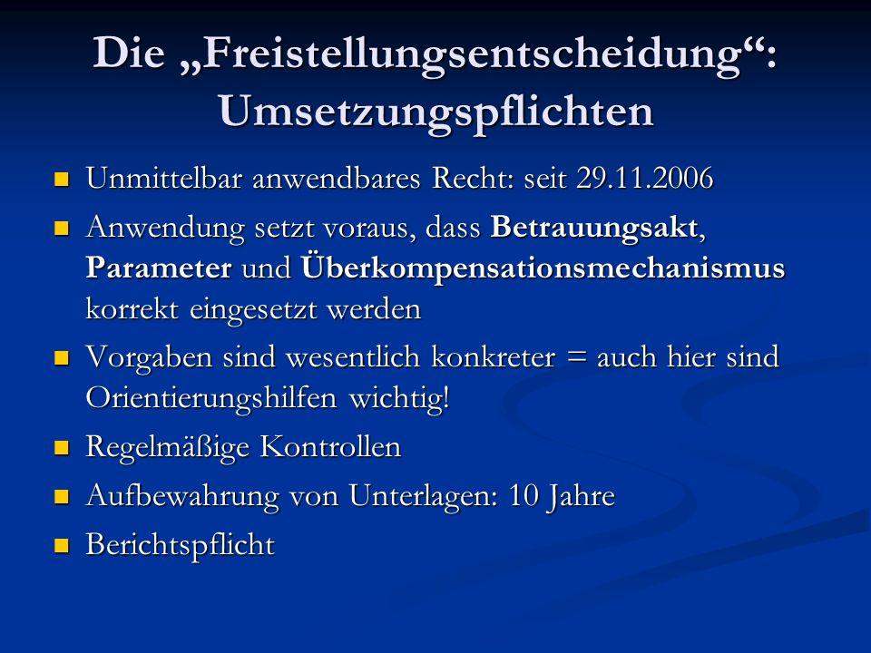 Die Freistellungsentscheidung: Umsetzungspflichten Unmittelbar anwendbares Recht: seit 29.11.2006 Unmittelbar anwendbares Recht: seit 29.11.2006 Anwen