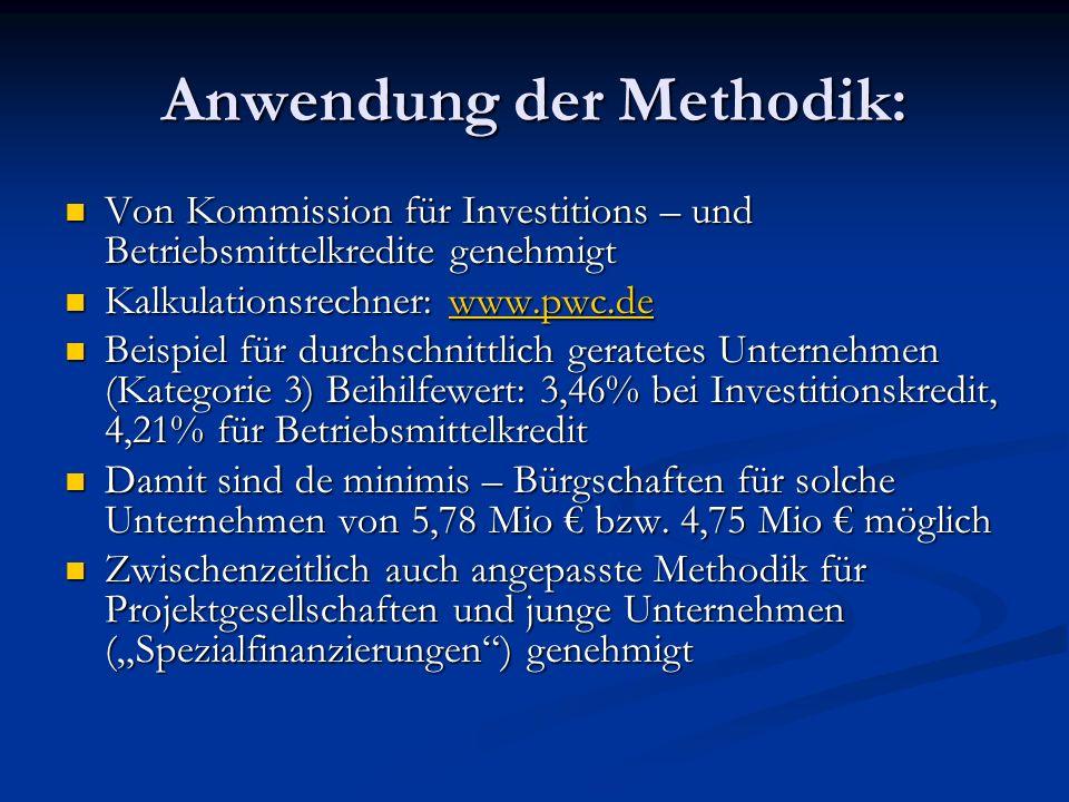 Anwendung der Methodik: Von Kommission für Investitions – und Betriebsmittelkredite genehmigt Von Kommission für Investitions – und Betriebsmittelkred