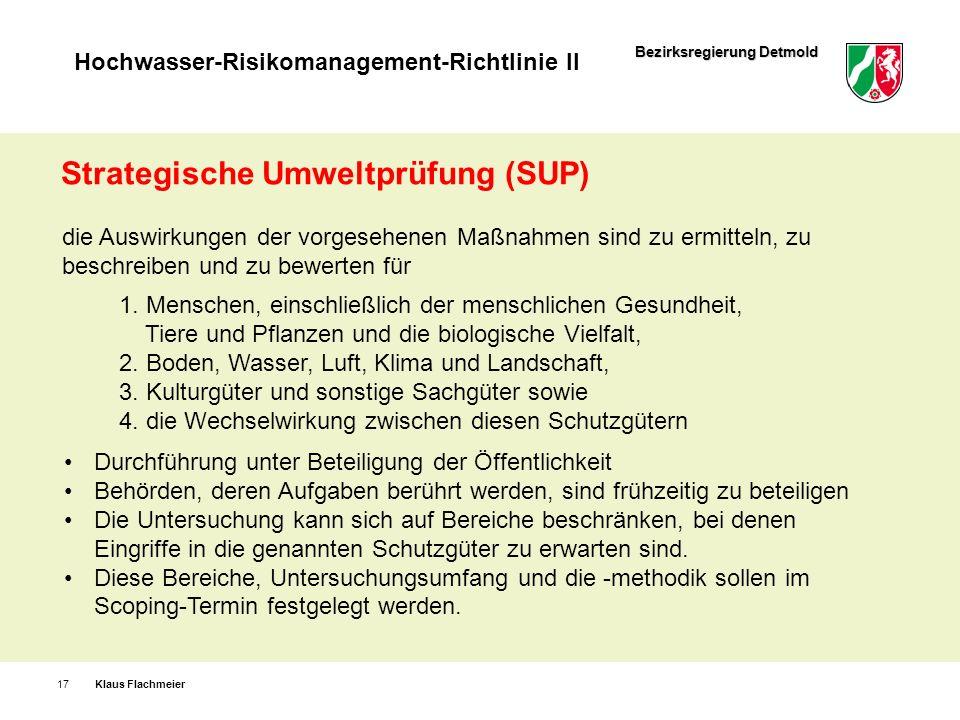 Bezirksregierung Detmold Hochwasser-Risikomanagement-Richtlinie II Klaus Flachmeier17 Strategische Umweltprüfung (SUP) die Auswirkungen der vorgesehen