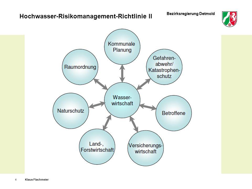 Bezirksregierung Detmold Hochwasser-Risikomanagement-Richtlinie II Klaus Flachmeier5 Angemessene Ziele für das Hochwasserrisikomanagement: Verringerung potenzieller hochwasserbedingter nachteiliger Folgen für die menschliche Gesundheit, die Umwelt, das Kulturerbe und die wirtschaftlichen Tätigkeiten