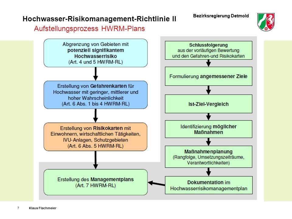 Bezirksregierung Detmold Hochwasser-Risikomanagement-Richtlinie II Klaus Flachmeier8 Öffentlichkeit erhält Zugang (§ 79 WHG) zur ersten Bewertung des Hochwasserrisikos, zu den Gefahren- und Risikokarten sowie zu den HWRM-Plänen.