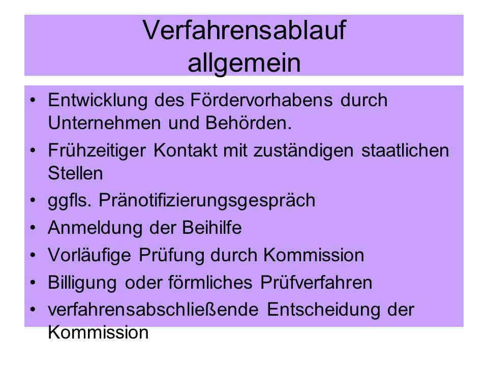 Vorschlag der Kommission für ein vereinfachtes Verfahren Voraussetzungen Kurzentscheidung: -Maßnahmen einer beihilferechtlichen Grundprüfung= Standardmaßnahmen i.