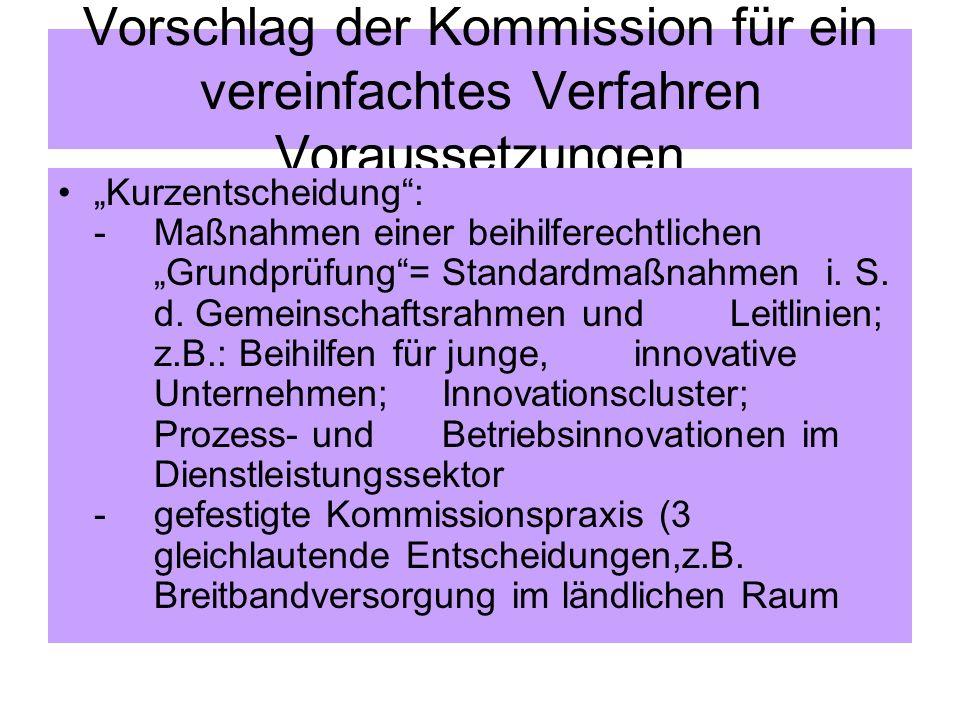 Vorschlag der Kommission für ein vereinfachtes Verfahren Voraussetzungen Kurzentscheidung: -Maßnahmen einer beihilferechtlichen Grundprüfung= Standard