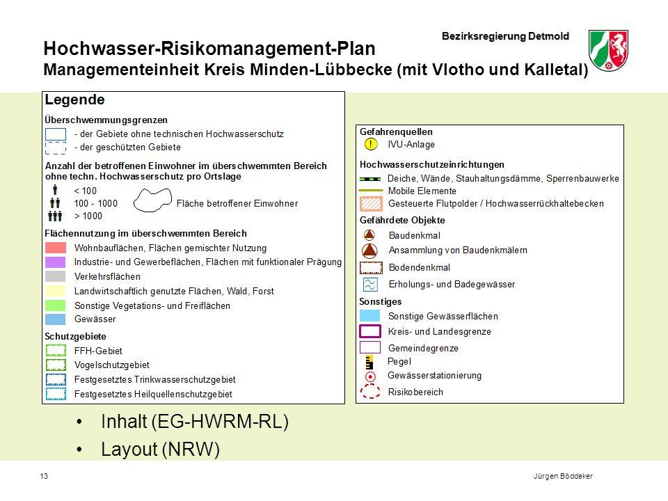 Bezirksregierung Detmold Hochwasser-Risikomanagement-Plan Managementeinheit Kreis Minden-Lübbecke (mit Vlotho und Kalletal) 13 Inhalt (EG-HWRM-RL) Layout (NRW) Jürgen Böddeker