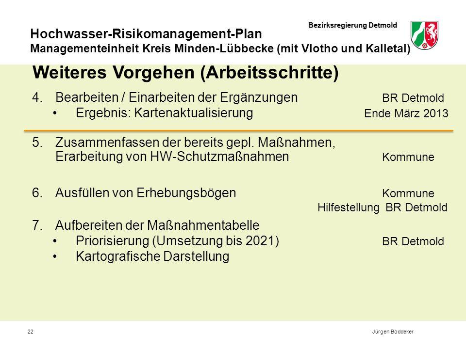 Bezirksregierung Detmold Hochwasser-Risikomanagement-Plan Managementeinheit Kreis Minden-Lübbecke (mit Vlotho und Kalletal) 22 Weiteres Vorgehen (Arbeitsschritte) 4.Bearbeiten / Einarbeiten der Ergänzungen BR Detmold Ergebnis: Kartenaktualisierung Ende März 2013 5.Zusammenfassen der bereits gepl.