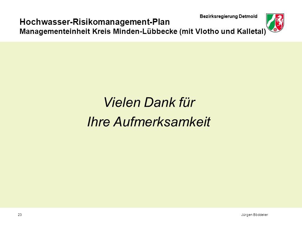 Bezirksregierung Detmold Hochwasser-Risikomanagement-Plan Managementeinheit Kreis Minden-Lübbecke (mit Vlotho und Kalletal) 23 Vielen Dank für Ihre Aufmerksamkeit Jürgen Böddeker