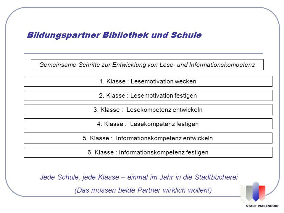 Gemeinsame Schritte zur Entwicklung von Lese- und Informationskompetenz 1. Klasse : Lesemotivation wecken 2. Klasse : Lesemotivation festigen 3. Klass