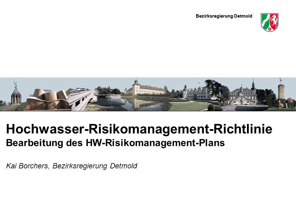 Bezirksregierung Detmold Hier könnte ein schmales Bild eingefügt werden Hochwasser-Risikomanagement-Richtlinie Bearbeitung des HW-Risikomanagement-Plans Kai Borchers, Bezirksregierung Detmold