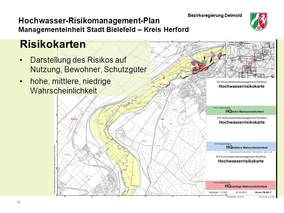 Bezirksregierung Detmold Hochwasser-Risikomanagement-Plan Managementeinheit Stadt Bielefeld – Kreis Herford 11 Risikokarten Darstellung des Risikos au
