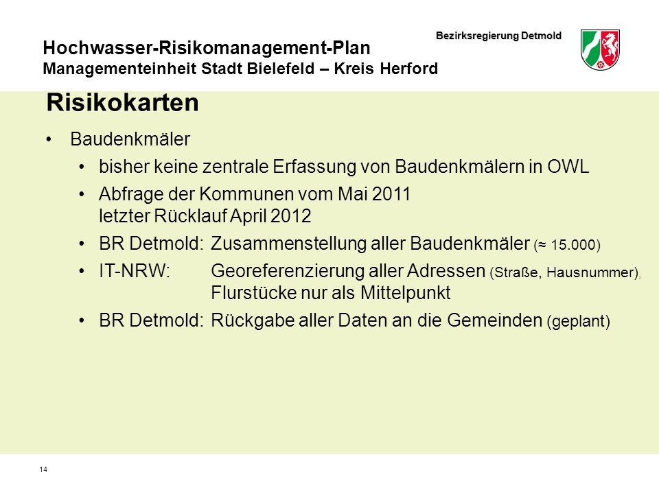 Bezirksregierung Detmold Hochwasser-Risikomanagement-Plan Managementeinheit Stadt Bielefeld – Kreis Herford 14 Risikokarten Baudenkmäler bisher keine