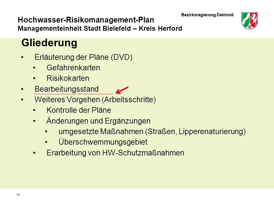 Bezirksregierung Detmold Hochwasser-Risikomanagement-Plan Managementeinheit Stadt Bielefeld – Kreis Herford 15 Gliederung Erläuterung der Pläne (DVD)