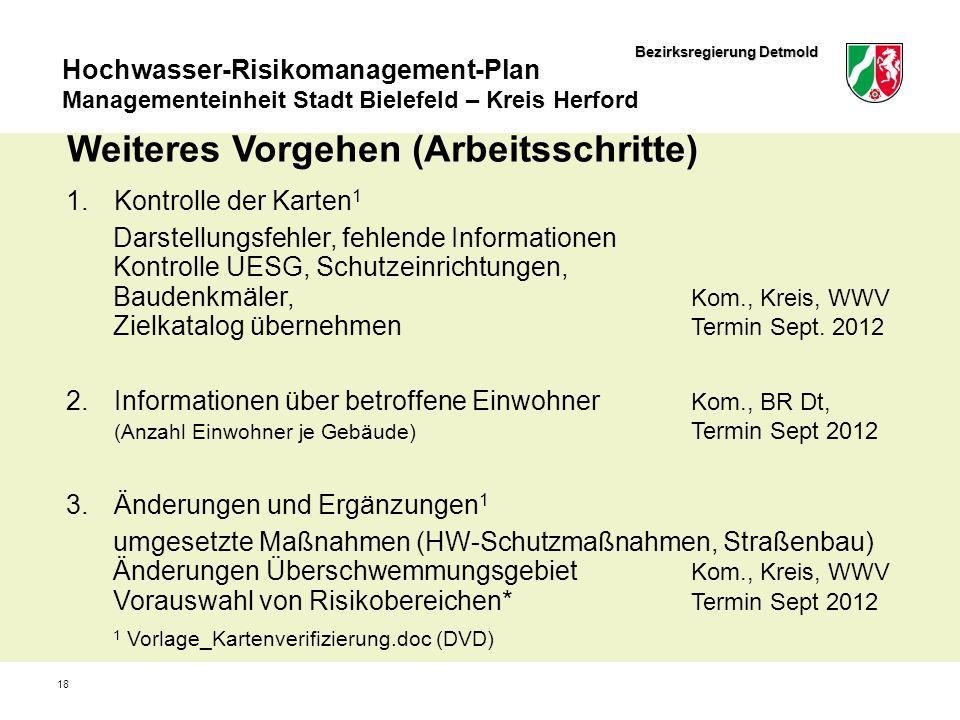Bezirksregierung Detmold Hochwasser-Risikomanagement-Plan Managementeinheit Stadt Bielefeld – Kreis Herford 18 Weiteres Vorgehen (Arbeitsschritte) 1.K