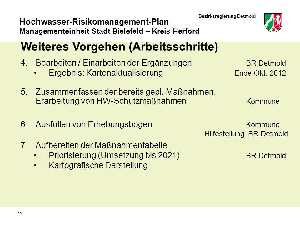 Bezirksregierung Detmold Hochwasser-Risikomanagement-Plan Managementeinheit Stadt Bielefeld – Kreis Herford 20 Weiteres Vorgehen (Arbeitsschritte) 4.B