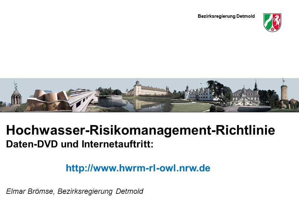 Bezirksregierung Detmold Hier könnte ein schmales Bild eingefügt werden Hochwasser-Risikomanagement-Richtlinie Daten-DVD und Internetauftritt: http://www.hwrm-rl-owl.nrw.de Elmar Brömse, Bezirksregierung Detmold