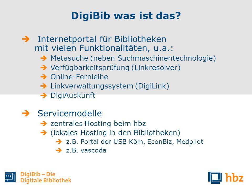 DigiBib was ist das? Internetportal für Bibliotheken mit vielen Funktionalitäten, u.a.: Metasuche (neben Suchmaschinentechnologie) Verfügbarkeitsprüfu