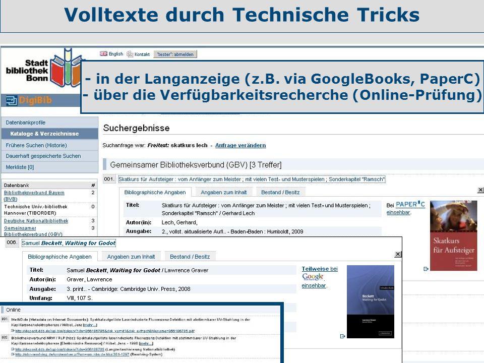 Nannette Heyder - hbz Volltexte durch Technische Tricks - in der Langanzeige (z.B. via GoogleBooks, PaperC) - über die Verfügbarkeitsrecherche (Online