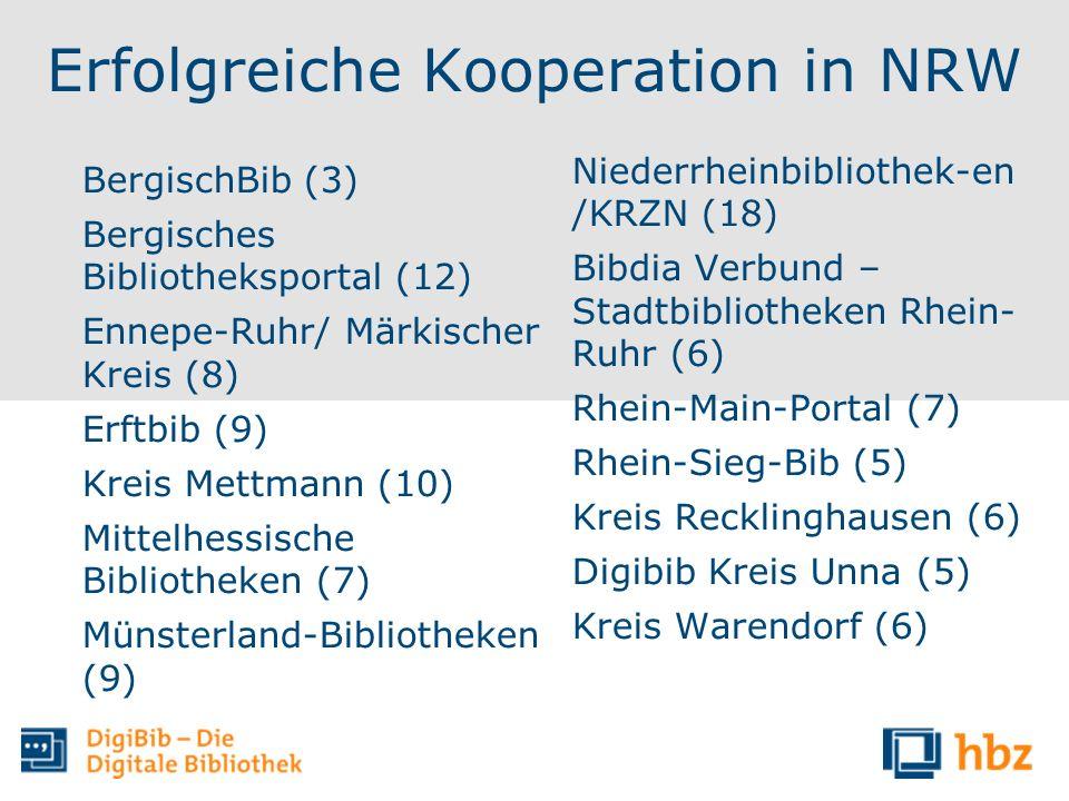 Erfolgreiche Kooperation in NRW BergischBib (3) Bergisches Bibliotheksportal (12) Ennepe-Ruhr/ Märkischer Kreis (8) Erftbib (9) Kreis Mettmann (10) Mi