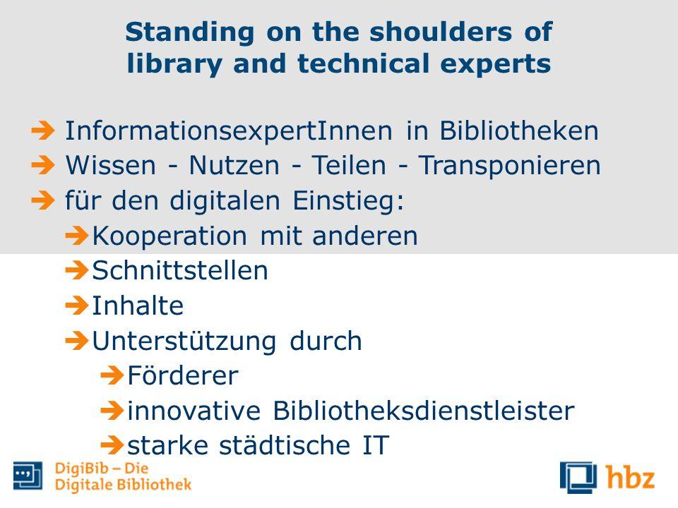 InformationsexpertInnen in Bibliotheken Wissen - Nutzen - Teilen - Transponieren für den digitalen Einstieg: Kooperation mit anderen Schnittstellen In