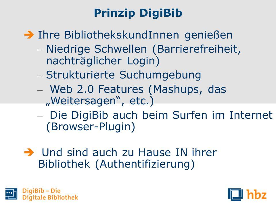 Prinzip DigiBib Ihre BibliothekskundInnen genießen – Niedrige Schwellen (Barrierefreiheit, nachträglicher Login) – Strukturierte Suchumgebung – Web 2.