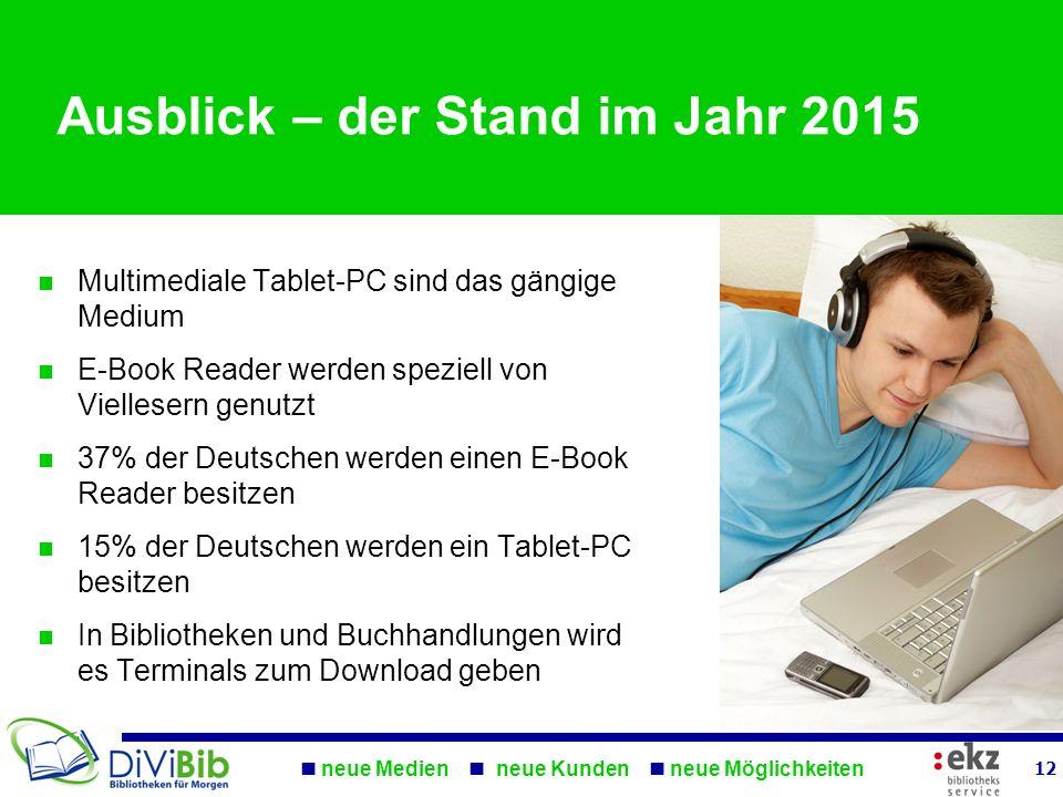 neue Medien neue Kunden neue Möglichkeiten 12 Ausblick – der Stand im Jahr 2015 Multimediale Tablet-PC sind das gängige Medium E-Book Reader werden sp