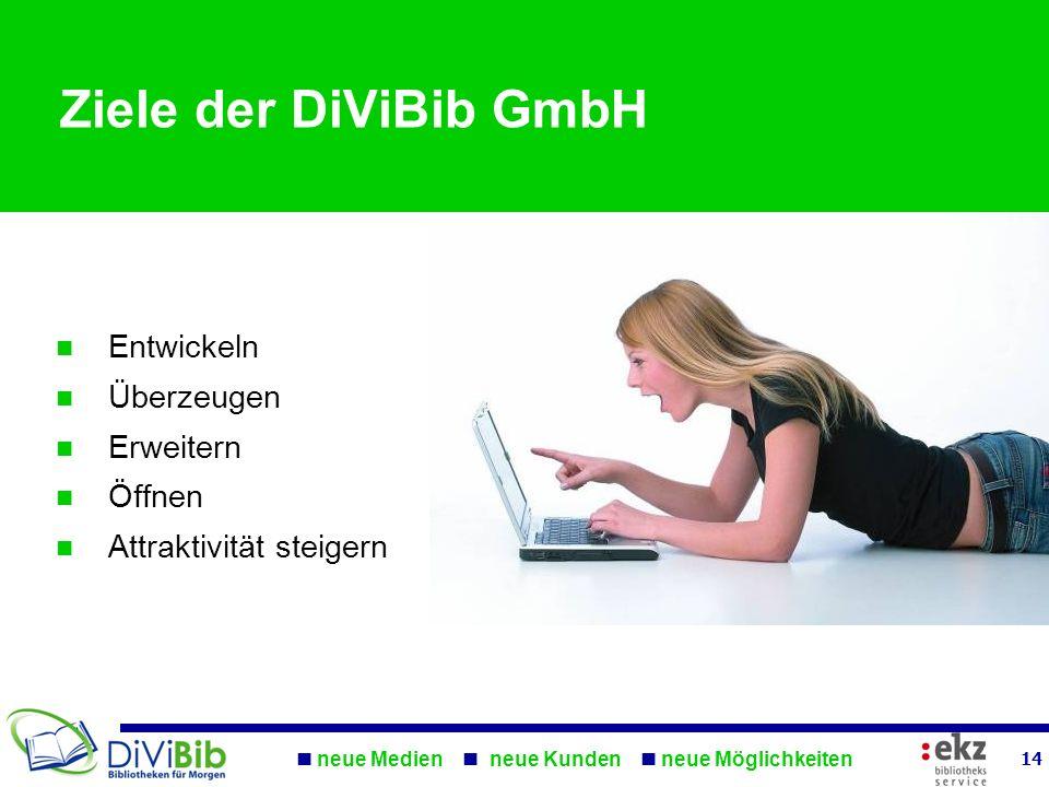 neue Medien neue Kunden neue Möglichkeiten Ziele der DiViBib GmbH Entwickeln Überzeugen Erweitern Öffnen Attraktivität steigern 14