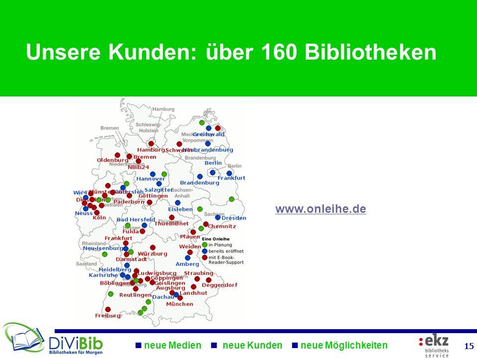 Unsere Kunden: über 160 Bibliotheken www.onleihe.de neue Medien neue Kunden neue Möglichkeiten 15