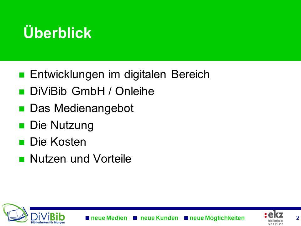 neue Medien neue Kunden neue Möglichkeiten 2 Überblick Entwicklungen im digitalen Bereich DiViBib GmbH / Onleihe Das Medienangebot Die Nutzung Die Kos