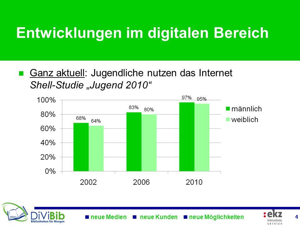 neue Medien neue Kunden neue Möglichkeiten 4 Entwicklungen im digitalen Bereich Ganz aktuell: Jugendliche nutzen das Internet Shell-Studie Jugend 2010