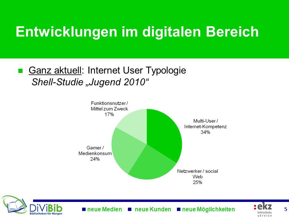 neue Medien neue Kunden neue Möglichkeiten 5 Entwicklungen im digitalen Bereich Ganz aktuell: Internet User Typologie Shell-Studie Jugend 2010