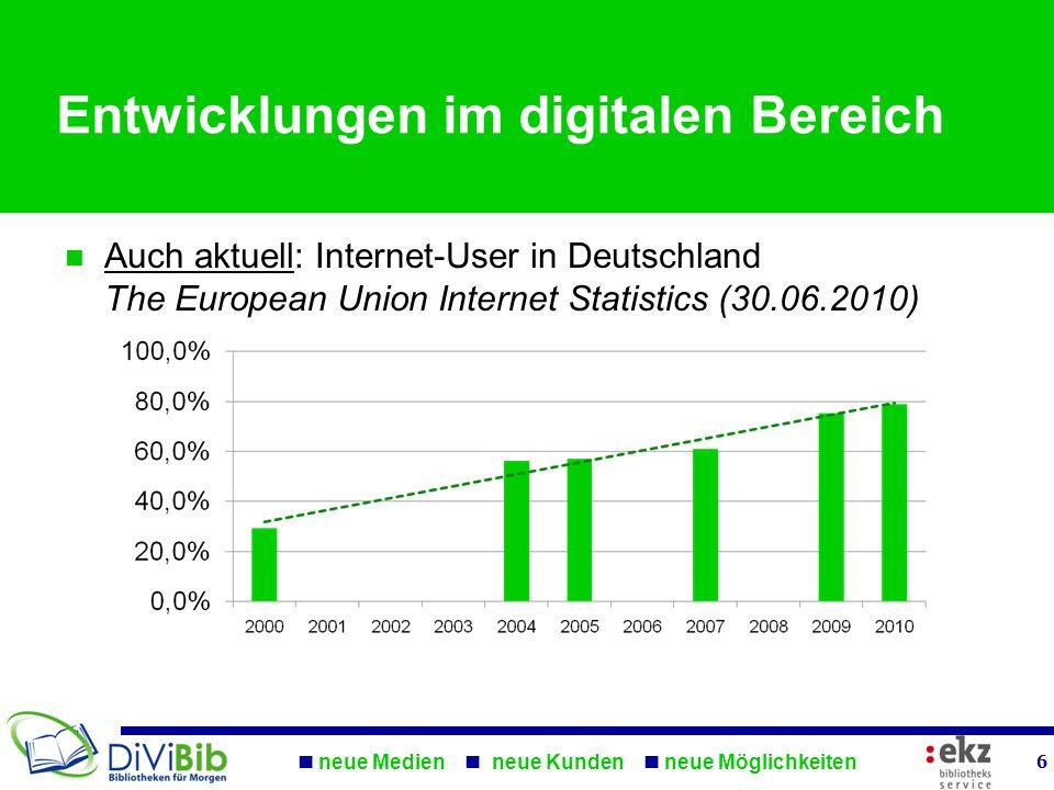 neue Medien neue Kunden neue Möglichkeiten 6 Entwicklungen im digitalen Bereich Auch aktuell: Internet-User in Deutschland The European Union Internet
