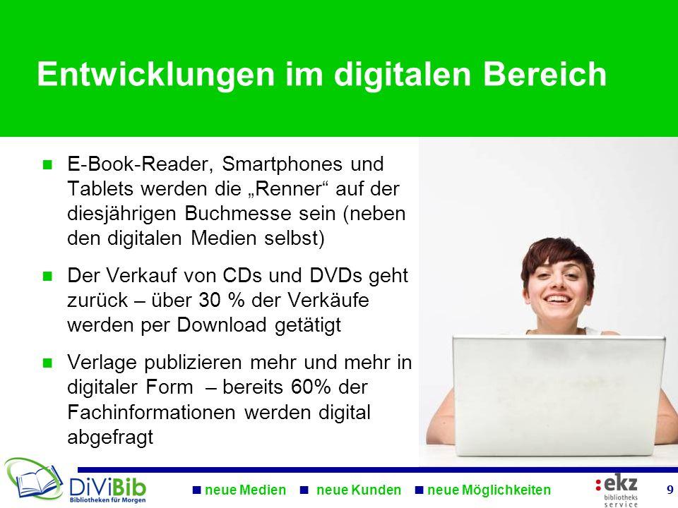 neue Medien neue Kunden neue Möglichkeiten 9 Entwicklungen im digitalen Bereich E-Book-Reader, Smartphones und Tablets werden die Renner auf der diesj