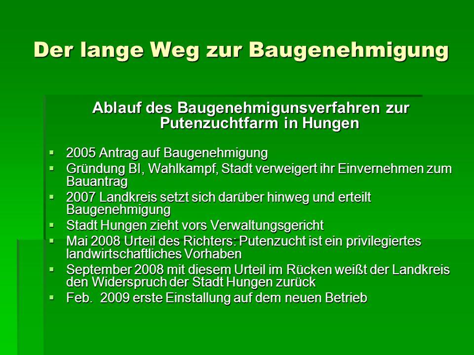 Der lange Weg zur Baugenehmigung Ablauf des Baugenehmigunsverfahren zur Putenzuchtfarm in Hungen 2005 Antrag auf Baugenehmigung 2005 Antrag auf Baugen