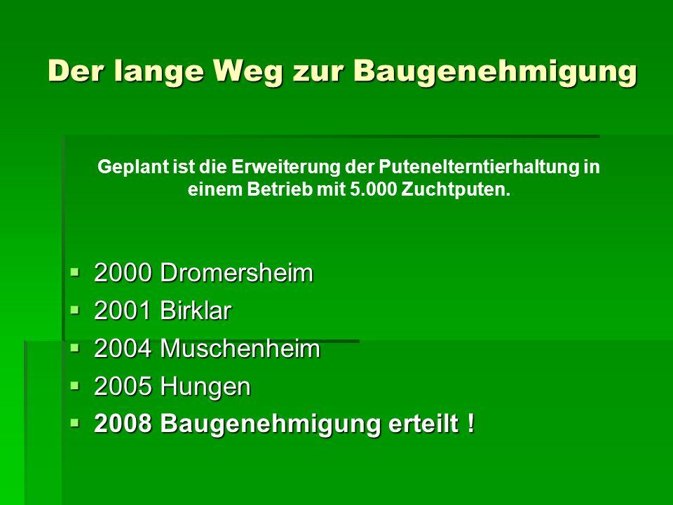 Der lange Weg zur Baugenehmigung 2000 Dromersheim 2000 Dromersheim 2001 Birklar 2001 Birklar 2004 Muschenheim 2004 Muschenheim 2005 Hungen 2005 Hungen