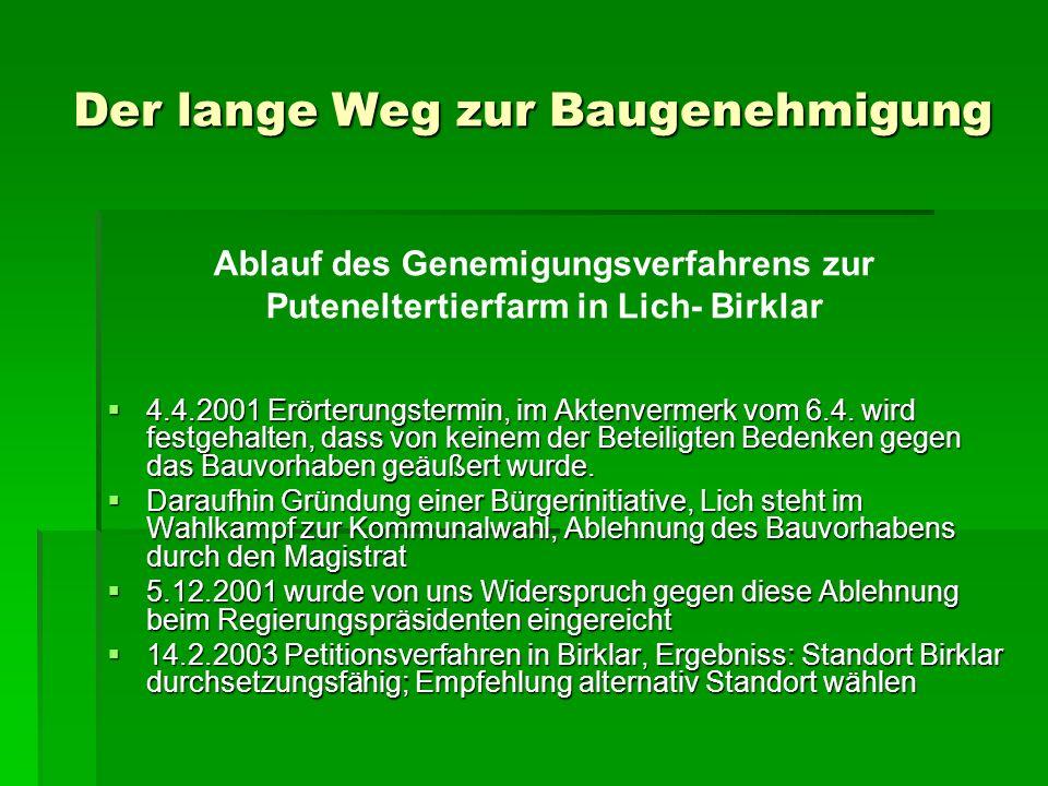 Der lange Weg zur Baugenehmigung 2000 Dromersheim 2000 Dromersheim 2001 Birklar 2001 Birklar 2004 Muschenheim 2004 Muschenheim 2005 Hungen 2005 Hungen Geplant ist die Erweiterung der Putenelterntierhaltung in einem Betrieb mit 5.000 Zuchtputen.