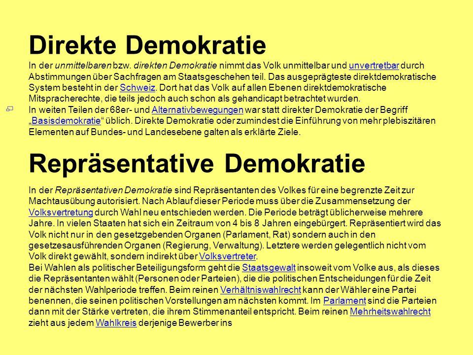 Direkte Demokratie In der unmittelbaren bzw.