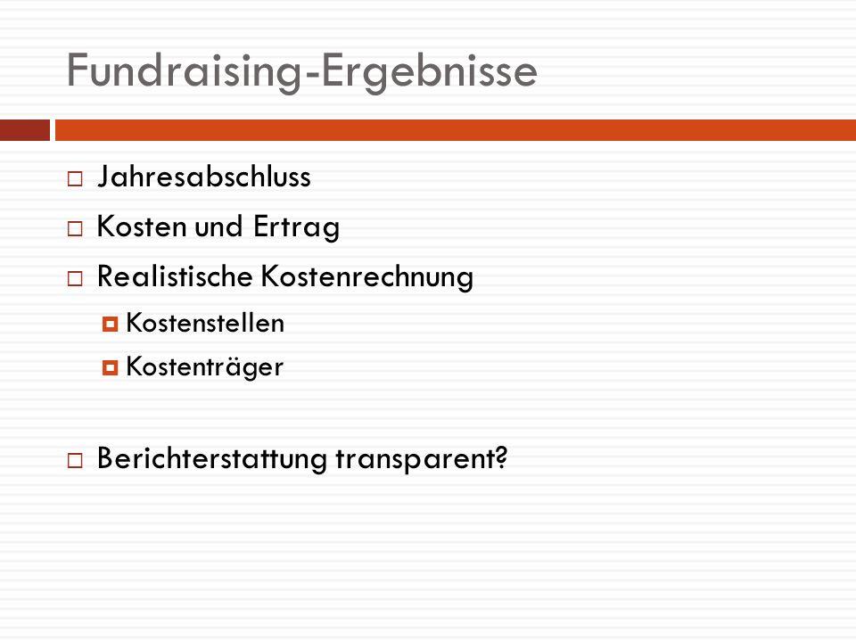 Fundraising-Ergebnisse Jahresabschluss Kosten und Ertrag Realistische Kostenrechnung Kostenstellen Kostenträger Berichterstattung transparent?